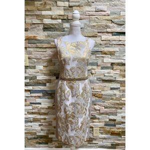 Rickie Freeman Teri Jon Gold Foil Sheath Dress